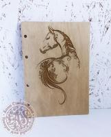 Деревянная обложка «Лошадь» для блокнота