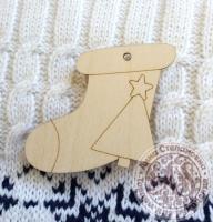 Подвеска деревянная Носок новогодний