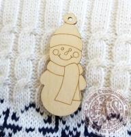 Подвеска деревянная Снеговик новогодний