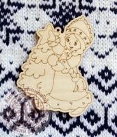 Ёлочная игрушка из дерева Снегурочка