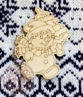 Деревянная подвеска Снеговик с ёлочкой