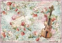 Бумага рисовая для декупажа «Цветы и музыка»