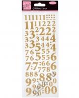 Наклейки Цифры золотые Яркие блестки