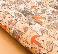 Бумага упаковочная крафт Котики с подарками
