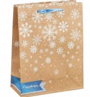 Пакет крафт подарочный «Снежинки»