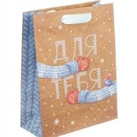 Пакет крафт подарочный «Теплые варежки»