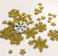 Снежинки из фоамирана на клеевой основе золото