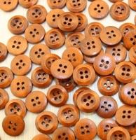 Пуговицы деревянные круглые тонированные