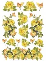 Бумага рисовая Желтые старинные розы