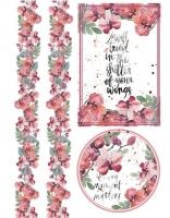 Бумага рисовая Розовые орхидеи с бордюром