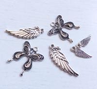 Набор подвесок Бабочки и крылья серебро