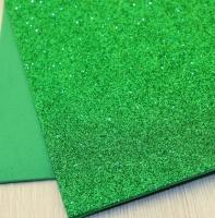 Фоамиран с блестками зеленый