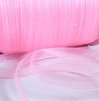 Лента шифоновая светло-розовая узкая