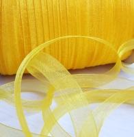 Лента шифоновая желтая узкая