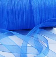 Лента шифоновая синяя узкая