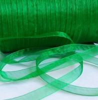 Лента шифоновая зеленая узкая