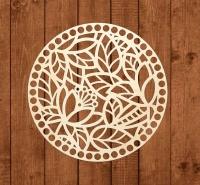 Крышка для вязаной корзины ажурная Круг цветочный