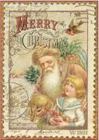 Бумага рисовая Рождественская открытка
