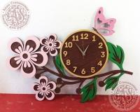 Часы настенные деревянные Веточка с цветами