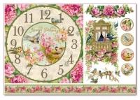 Бумага рисовая для декупажа «Часы с птичками»