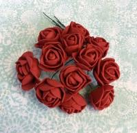 Букетик роз из фоама бордовые