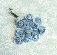 Бумажные розы голубые, маленькие