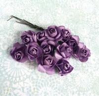 Бумажные розы фиолетовые, маленькие