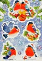 Наклейки декоративные «Новогодние снегири»