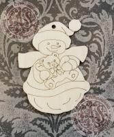 Подвеска новогодняя «Снеговик с мишкой»
