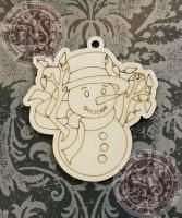Подвеска новогодняя «Снеговик с гирляндой»