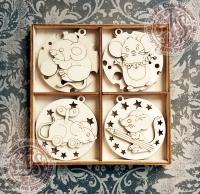 Набор ёлочных игрушек из дерева №1 Весёлые мышки