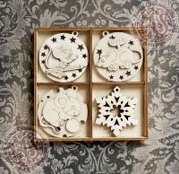 Набор ёлочных игрушек из дерева №3 Новогодние мышки