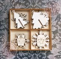 Набор ёлочных игрушек из дерева №5 Снежная зима