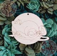 Подвеска новогодняя «Мышь с бантиком»