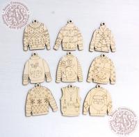 Набор ёлочных игрушек из дерева №7 Тёплый свитер