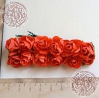 Бумажные розы светло-красные, маленькие