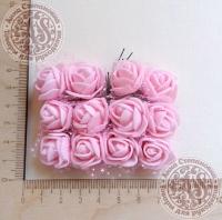 Букетик роз из фоама с сеточкой Розовые