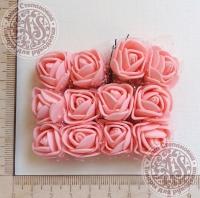 Букетик роз из фоама с сеточкой Теплый розовый