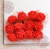 Букетик роз из фоама с сеточкой Красные