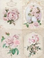 Декупажная карта Ретро открытки. Розы