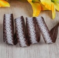 Лента джутовая с кружевом Шоколад