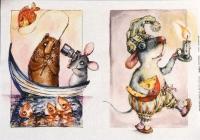 Декупажная карта «Мышь и кот»