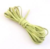 Шнур из искусственной замши плоский, светло-зеленый