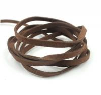Шнур из искусственной замши плоский, коричневый