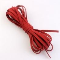 Шнур из искусственной замши плоский, красный