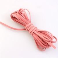 Шнур из искусственной замши плоский, розовый