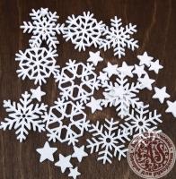 Снежинки из фоамирана на клеевой основе белые