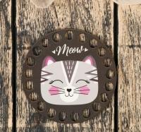 Деревянное донышко с рисунком Киса. Meow