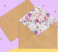 Конверт В горошек, с цветами
