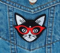 Термоаппликация, нашивка Кот в очках